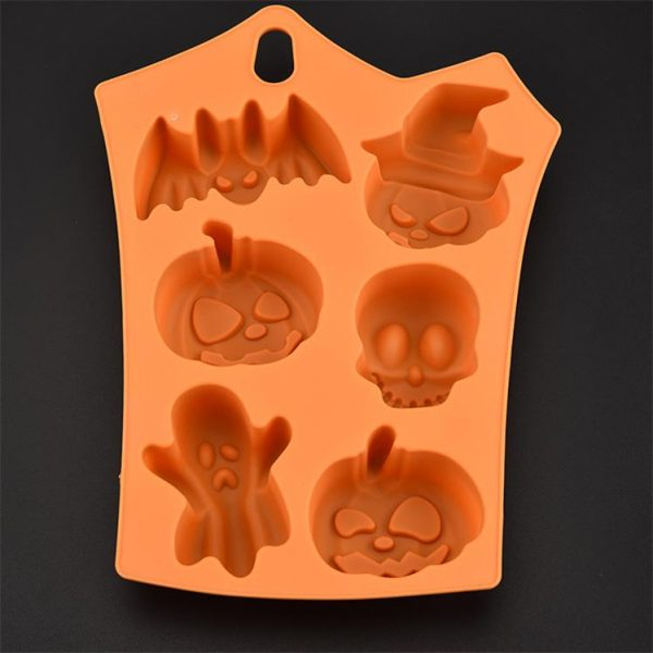 Silicone Halloween Cake Mould Pumpkin & Ghosts Orange